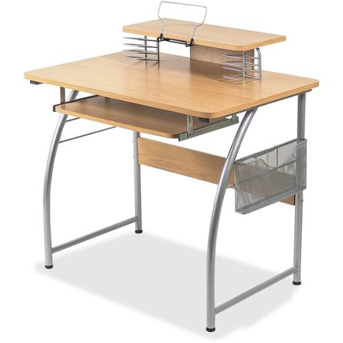 "Lorell Upper Shelf Laminate Computer Desk - Rectangle Top - 23.60"" Table Top Width x 35.40"" Table Top Depth - 35.20"" Hei"