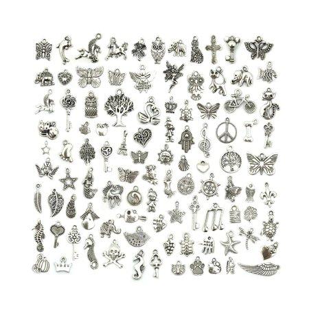 Wholesale Bulk Lots Jewelry Making Silver Charms, Mixed, Smooth, Tibetan 100 PCS