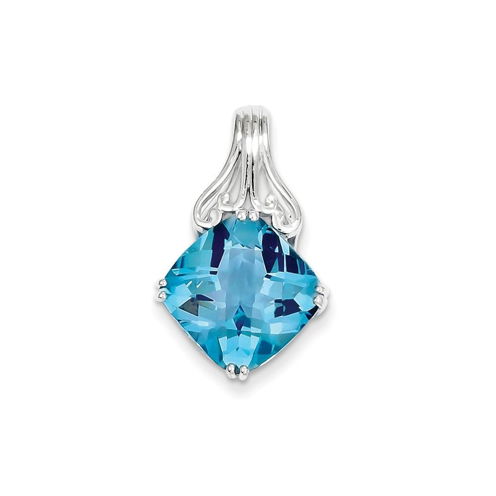 Sterling Silver Blue Topaz Pendant. Gem Wt- 8.63ct