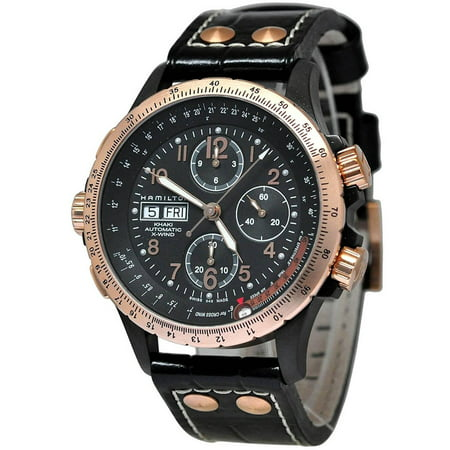 (Hamilton Khaki X-Wind Leather Automatic Chronograph Men's Watch, H77676733)