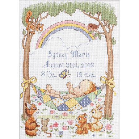 Birth Announcement Counted Cross Stitch - Our Little Blessing Birth Record Counted Cross Stitch Kit, 10