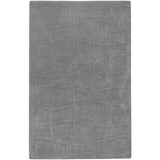 5' x 8' Bas-Relief Lattice Dove Gray Wool Area Throw Rug