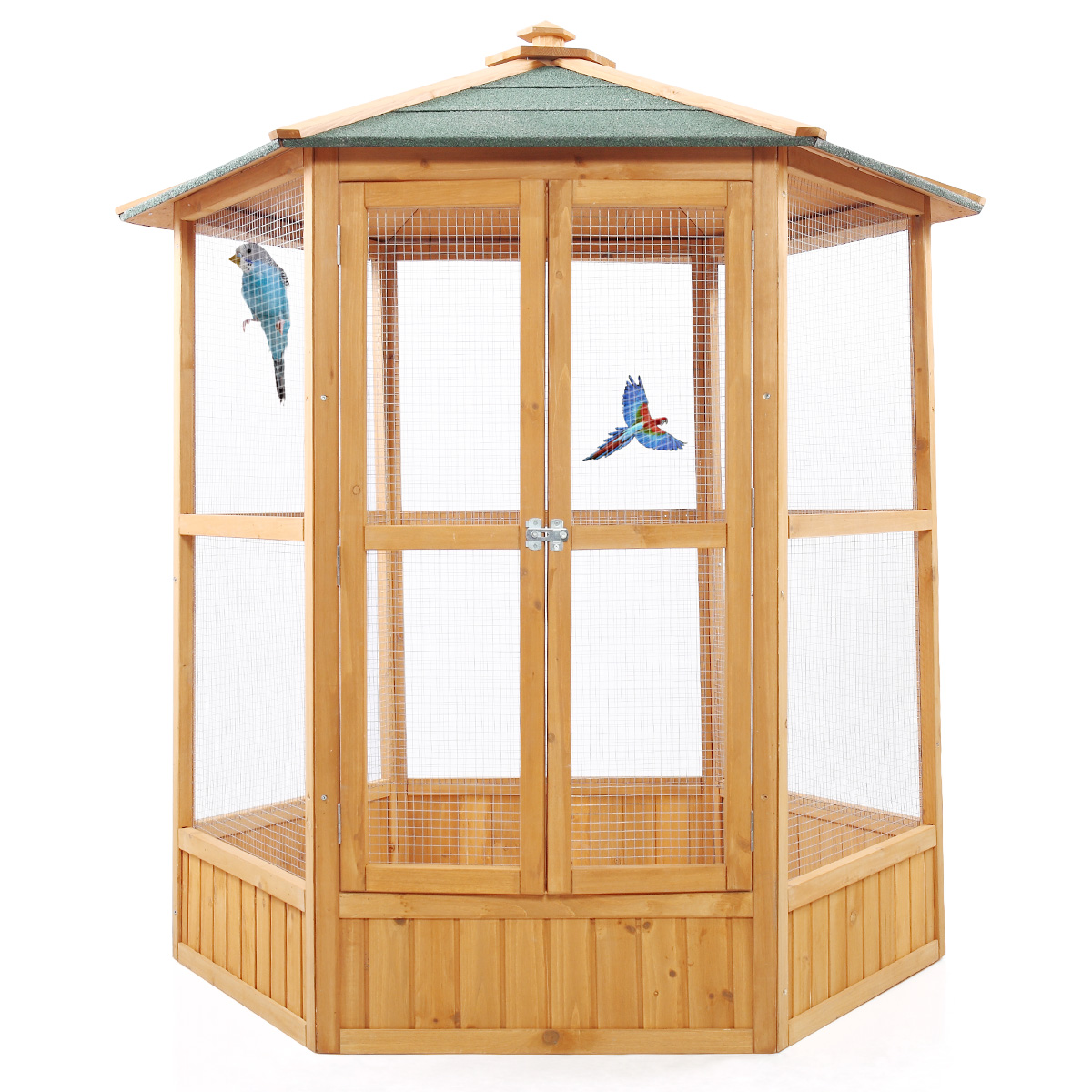 "64"" Hexagonal Wooden Aviary Bird Cage Hatch Room Pet Parrot Cock Cockatoo Finch House"