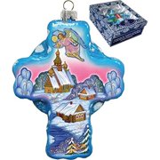 GDeBrekht 758-002 Angel Village Cross Glass Ornament