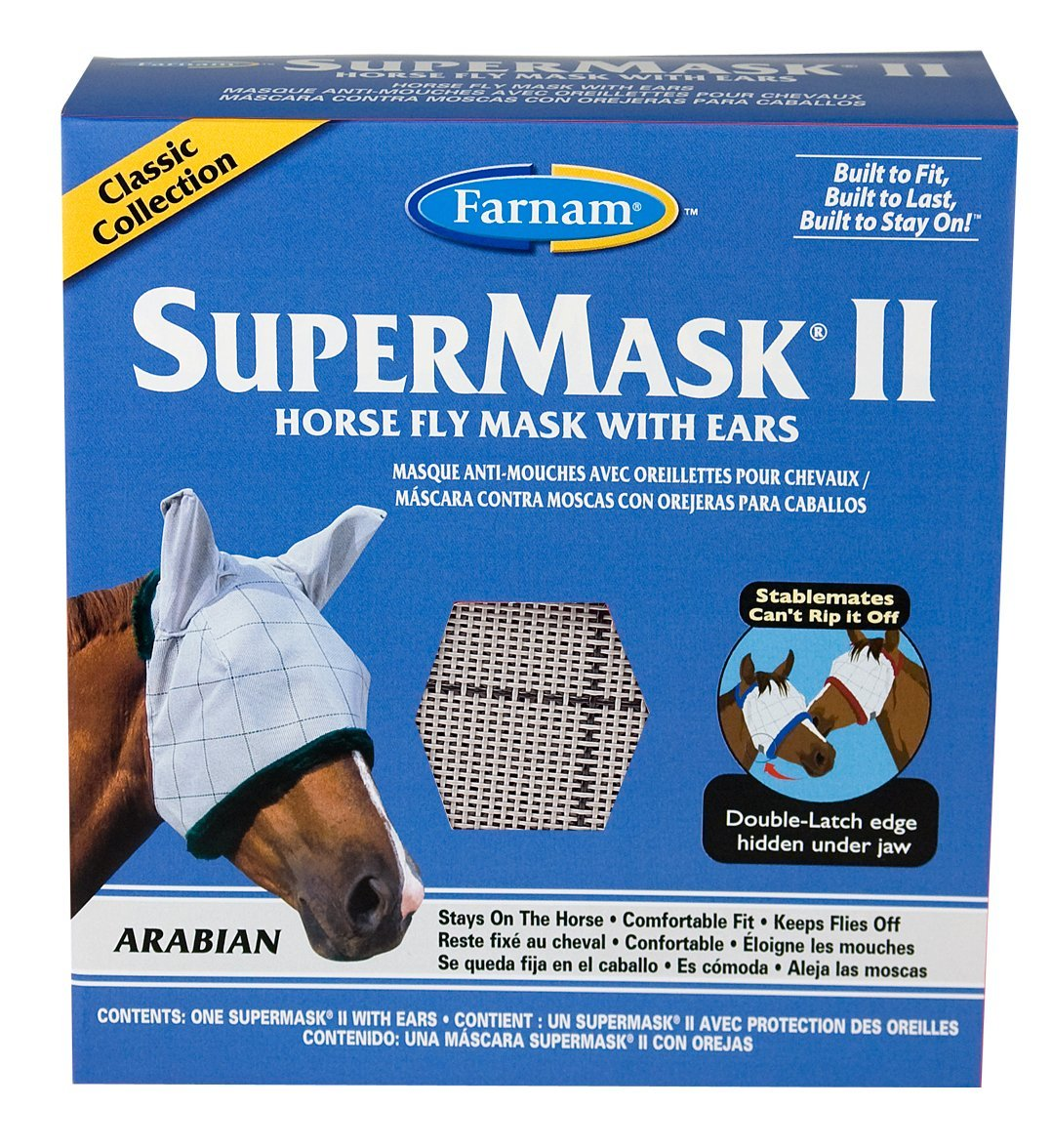 SuperMask II Classic Horse Fly Mask with Ears, Arabian size, Assorted, The double-latch closure stays on your horse; stable mates can't rip off By Farnam
