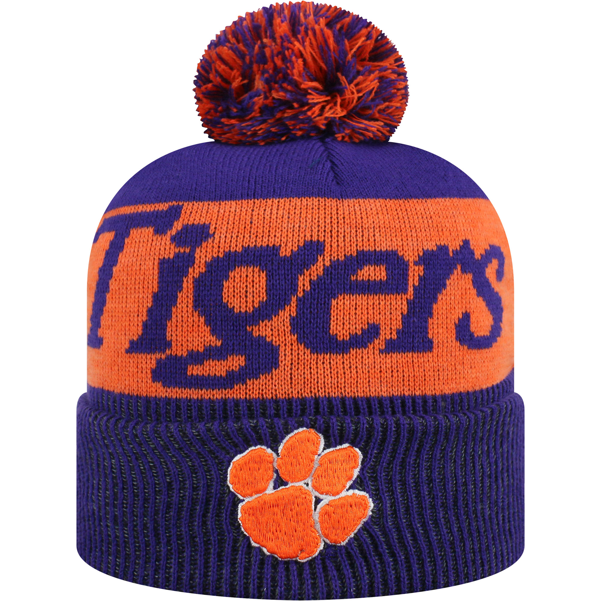 Women's Russell Purple/Orange Clemson Tigers Frore Cuffed Knit Hat With Pom - OSFA