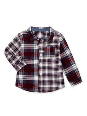 Wonder Nation Baby Boy & Toddler Boy Plaid Flannel Button-Up Shirt (12M-5T)