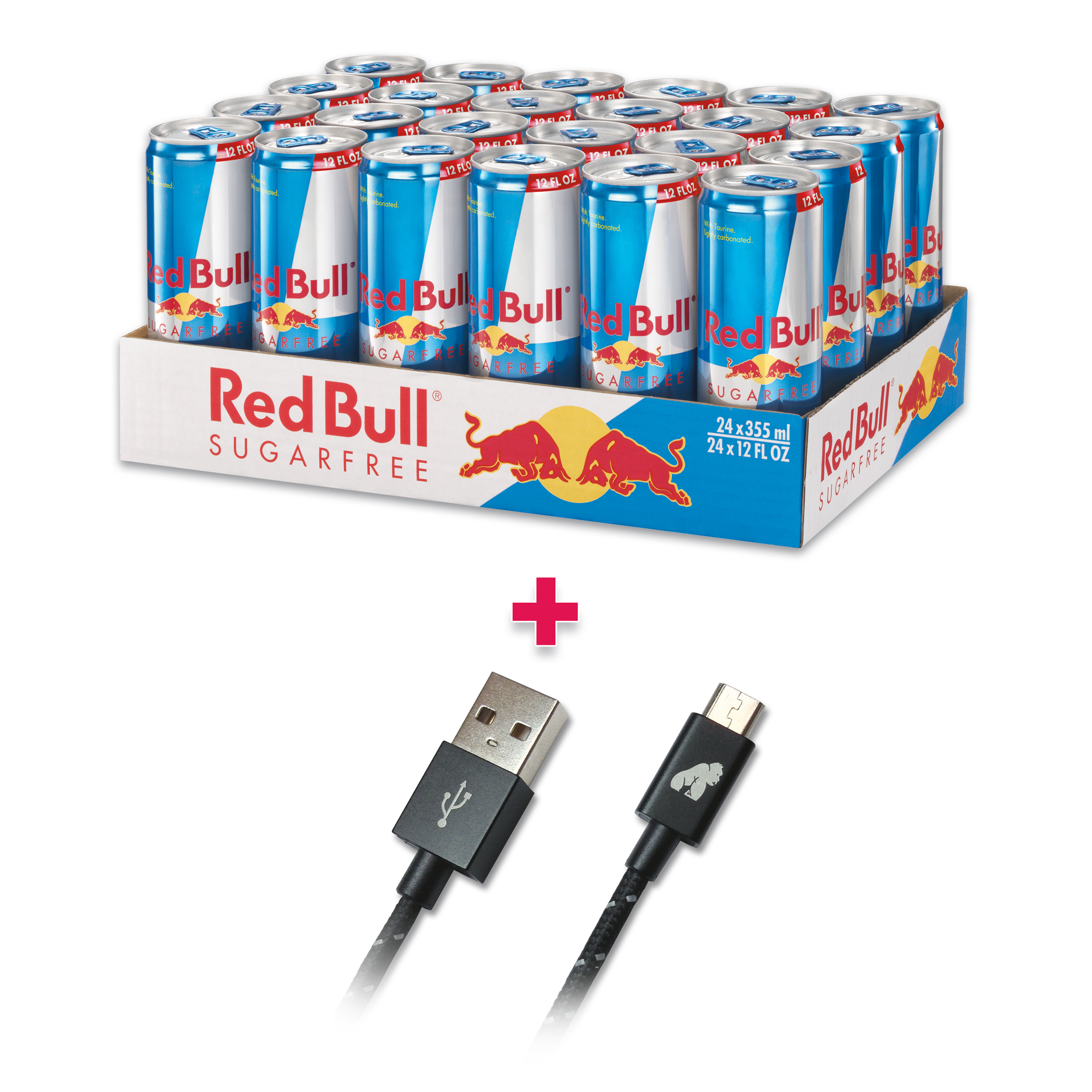 Red Bull 24-Pack 12oz Sugar Free Energy Drink & GorillaDrive 6 ft microUSB Ruggedized USB Cable