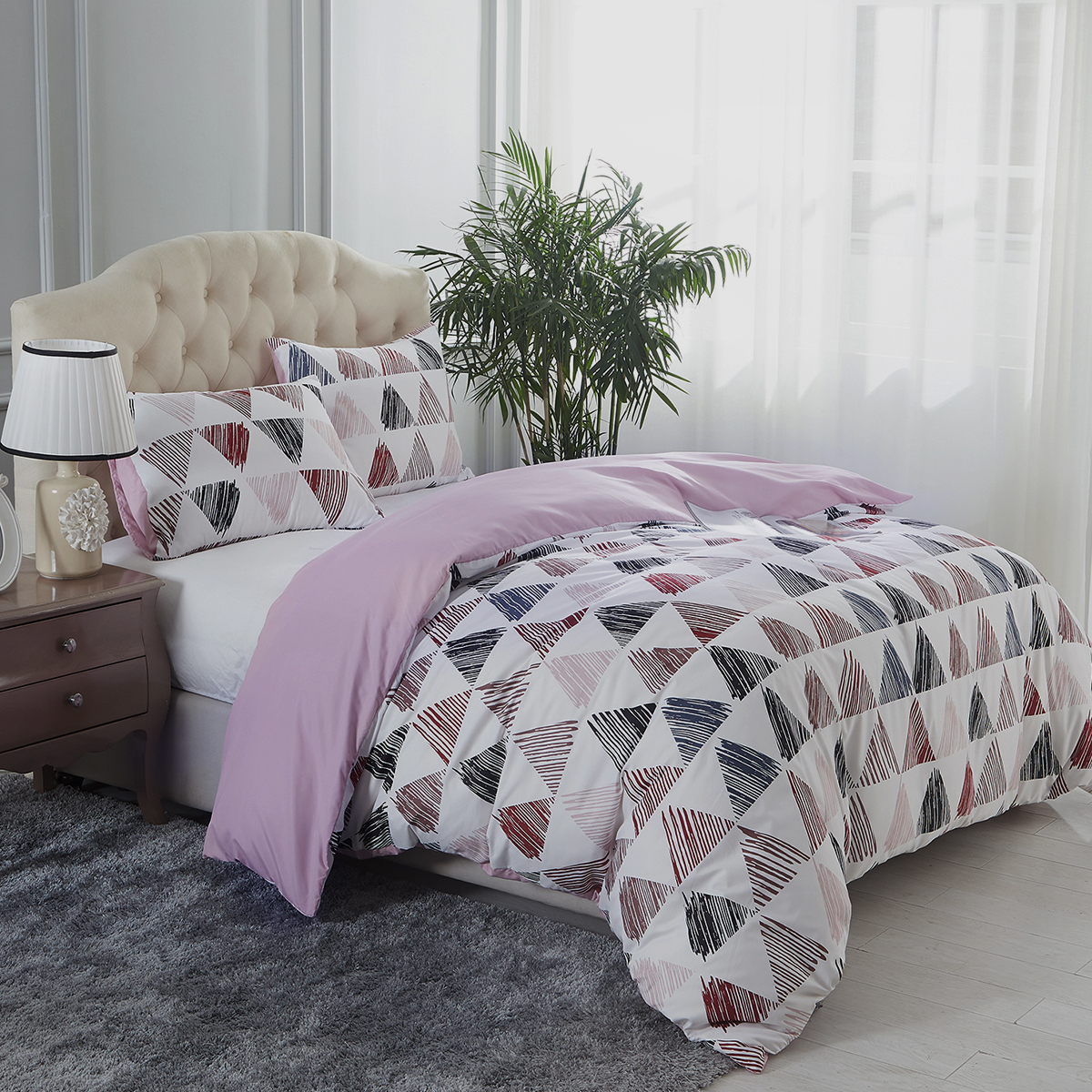 Super Soft Luxury 3 Piece Printed Duvet Cover Set,Queen Size