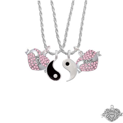 "Love Banner on Pink Crystal Heart Yin Yang Necklace Set, 20""+3"""