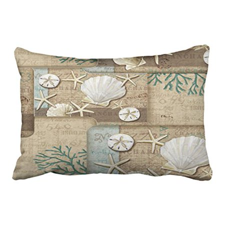 WinHome Rectangl Throw Pillow Covers Nautical Seashells On The Stunning Seashore Decorative Pillows