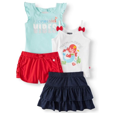 Sleeveless Tops, Ruffle Skirt & Shorts, 4pc Outfit Set (Baby Girls & Toddler Girls)