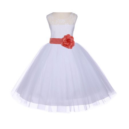 Ekidsbridal White Lace Bodice Flower Girl Dress Tulle Junior Bridesmaid Wedding Pageant Toddler Recital Easter Holiday First Communion Birthday Baptism Special Occasions Gown 153S (Sofia The First Toddler Dress)