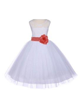 2cab1e992c195 Product Image Ekidsbridal White Lace Bodice Flower Girl Dress Tulle Junior  Bridesmaid Wedding Pageant Toddler Recital Easter Holiday