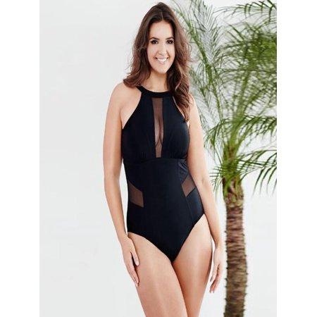 Plus Size Womens Swimming Mesh Padded Swimsuit Monokini Swimwear Push Up Bikini