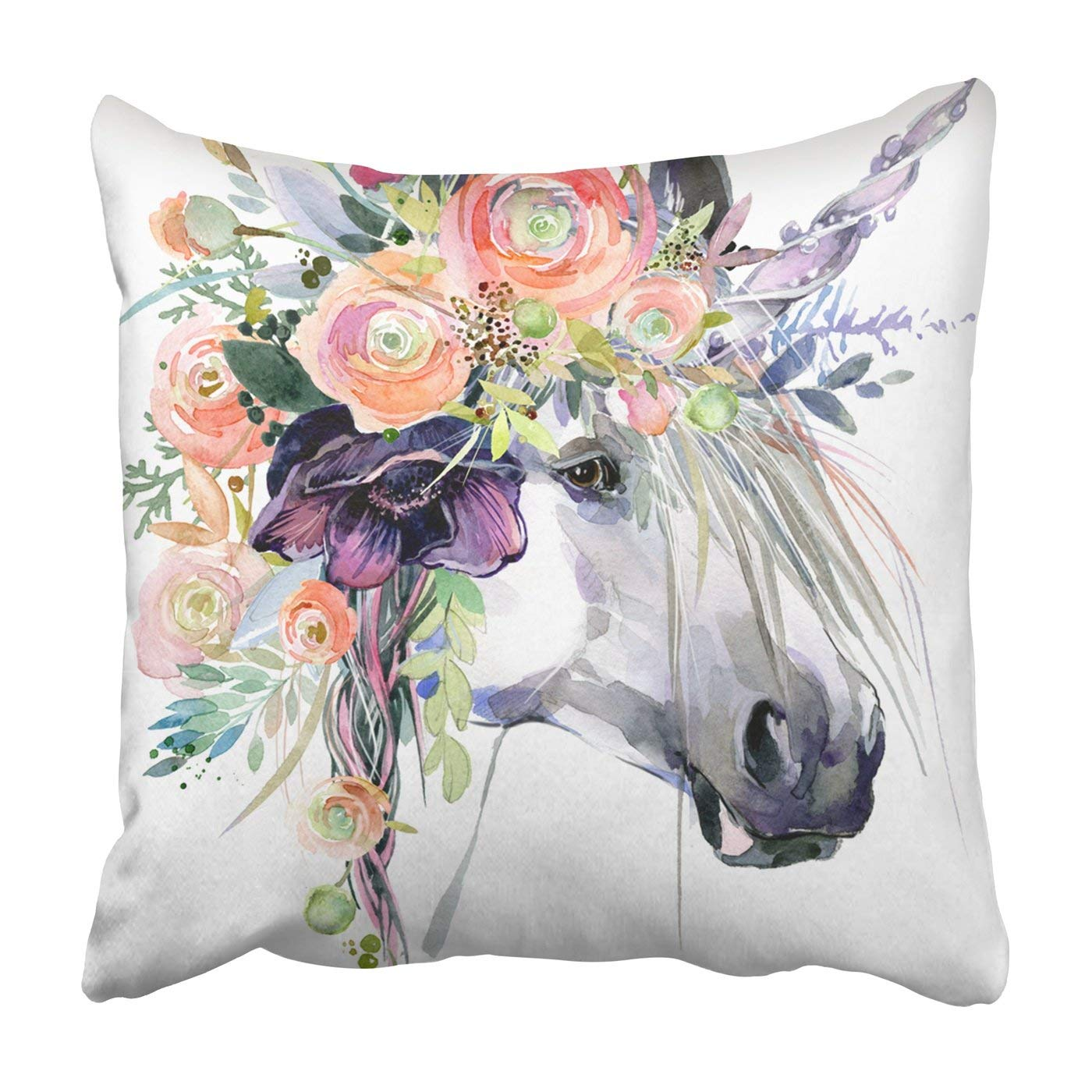 WOPOP watercolor unicorn White horse in flower wreath Pillowcase Throw Pillow Cover Case 18x18 inches