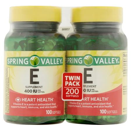 Spring Valley Coeur / immunitaire Santé 400 UI de vitamine E supplément, 100 pc, 2 ct