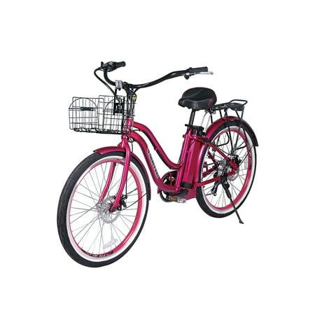 Electric Cruiser Bicycle - X-Treme Malibu-24 ELITE Beach Cruiser Lithium Battery Electric Bicycle Long Range Electric Bike