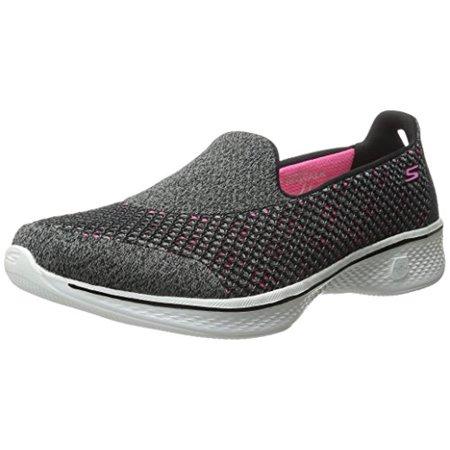 14145 BKHP Black Pink Skechers Shoes Go Walk 4 Women Mesh Slip On Comfort Loafer 14145BKHP ()