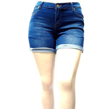 1826 Jeans Women's Plus Size Cuff Rolled Capri Bermuda Short Curvy Denim Jean -