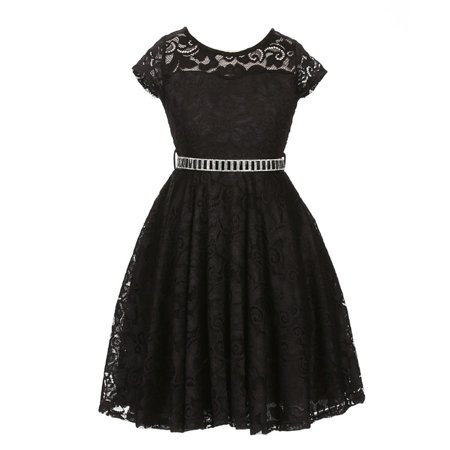 Little Girls Black Lace Glitter Stone Belt Special Occasion Skater Dress - Black Girl Dresses