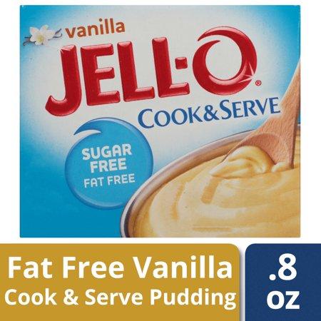 Vanilla Cooked Pudding - (4 Pack) Jell-O Instant Sugar-Free Fat-Free Vanilla Pudding & Pie Filling, 0.8 oz Box
