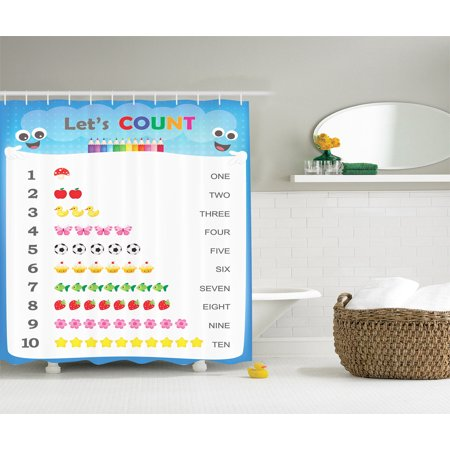 Count to Ten Educational Numbers Kids Play Children Daycare Decor Shower Curtain