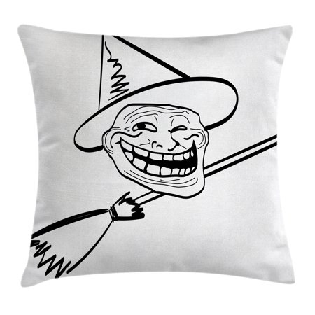 Halloween Witch Memes (Humor Decor Throw Pillow Cushion Cover, Halloween Spirit Themed Witch Guy Meme Lol Joy Spooky Avatar Artful Image, Decorative Square Accent Pillow Case, 18 X 18 Inches, Black White, by)