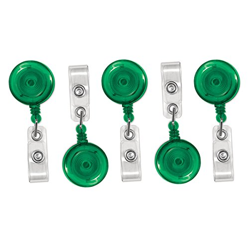 5 Pack Green Translucent Premium Retractable ID Badge Reels with Alligator Swivel Clip by Specialist ID by
