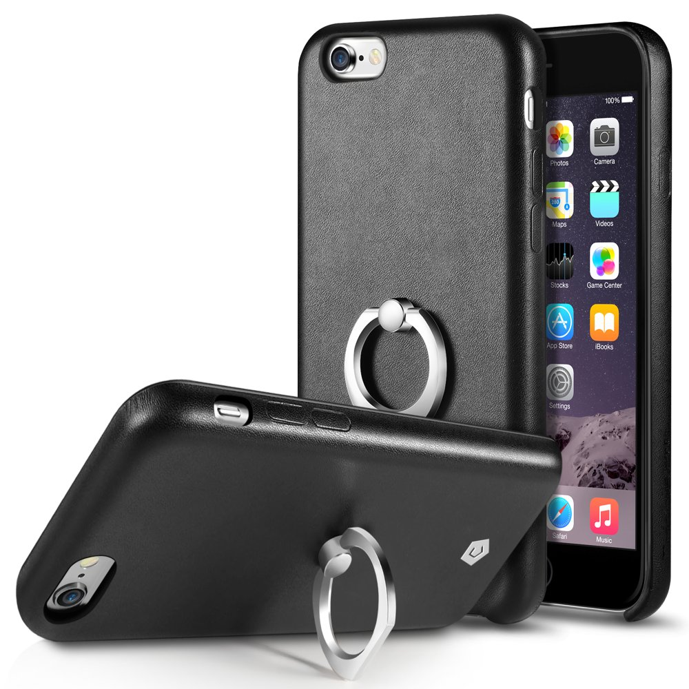 Cobble Pro 360 Rotation Ring Stand Grip Holder Leather Back Case for Apple iPhone 6s Plus / 6 Plus - Black