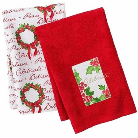 St Nicholas Square Christmas Holly Kitchen Towel Set