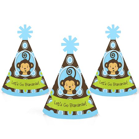 Monkey Boy - Mini Cone Baby Shower or Birthday Party Hats - Small Little Party Hats - Set of 10 (Little Boy Birthday Party Themes)
