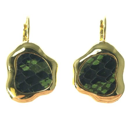 Snake Skin Design (Gold-Tone French Hook Dangle Earrings With Green Snake Skin Design TME940G)