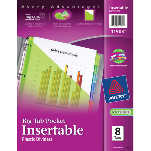 Avery Big Tab Pocket Insertable Plastic Dividers, 8-Tab Set