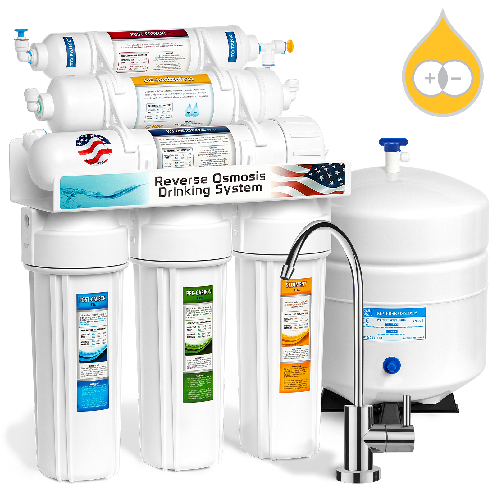 Express Water 6-Stage Reverse Osmosis Water Filter System RO + DI Deionization Mixed Bed Resin 50 GPD - RODI5M