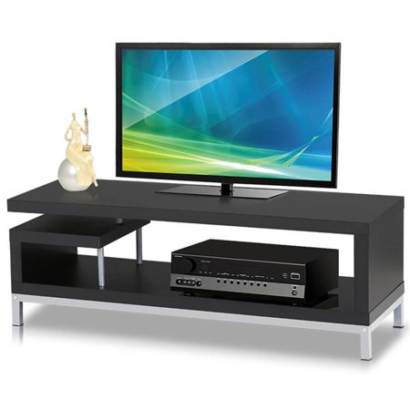 Yaheetech Black Wood TV Stand Console Table Home Entertainment Center Media Cabinets Steel Leg for Flat (Steel Component Stand)