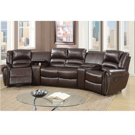 Brown Bonded Leather Reclining Sofa Set Home Theater Sectional Sofa Set with Two Center Consoles