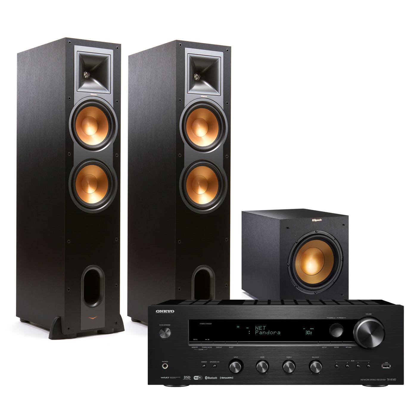 Onkyo TX8140 Stereo Receiver w  Klipsch R28F Floorstanders & R10SWi Wireless Sub by Onkyo