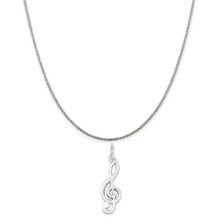 Sterling Silver Music Note Charm on a Sterling Silver Rope Chain Necklace, 16""