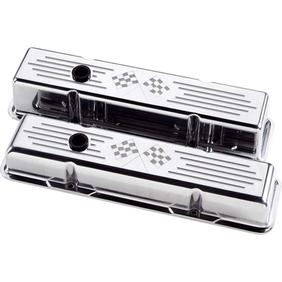 Billet Specialties SBC Polished Cross Flags Short Valve Covers P/N 95127