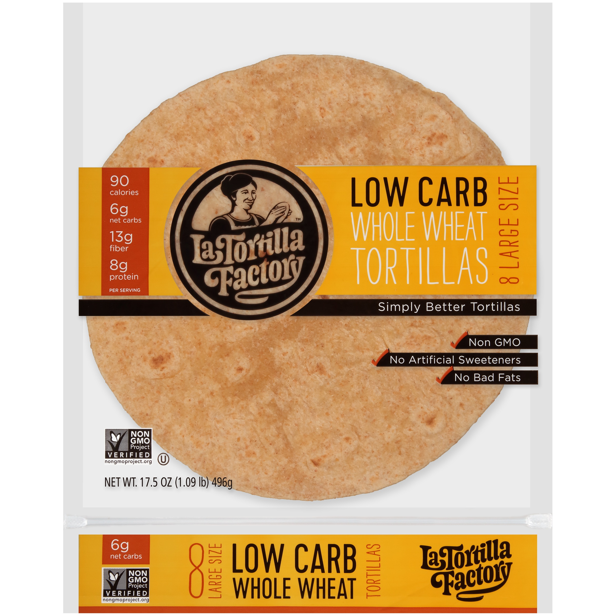 La Tortilla Factory™ Large Size Low Carb Whole Wheat Tortillas 8 ct Bag