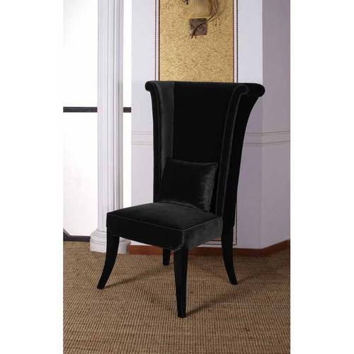 Armen Living Mad Hatter Dining Chair, Black Rich Velvet