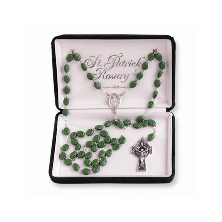 Glass and Silver-plated Green St. Patrick (St Patrick Rosary)