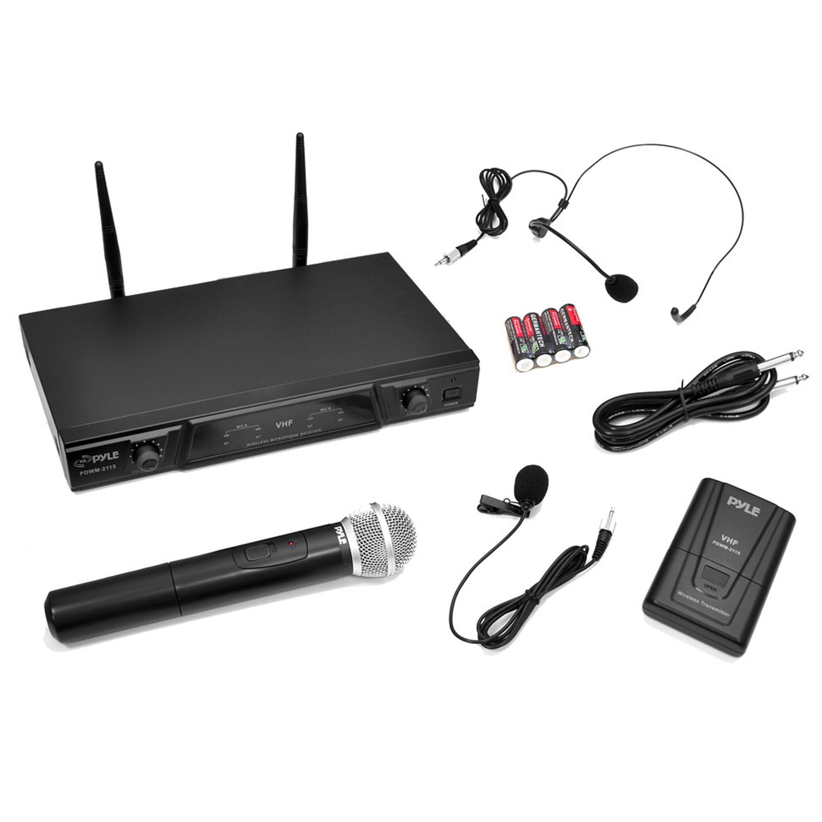Pyle-Pro VHF Wireless Microphone Receiver System with Independent Volume Control, Handheld Microphone and Belt Pack Transmitter with Lavalier Microphone