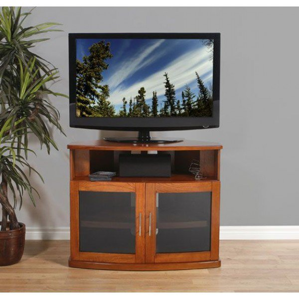 PLATEAU NEWPORT 40 W Corner Wood 40 in. TV Stand - Walnut Finish
