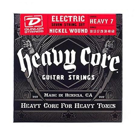 dunlop dhcn1060 heavy core nickel wound guitar strings, heavy, .010-.060, 7