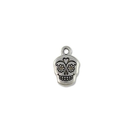 Charm for Jewelry Making - Sugar Skull 18x12mm Pewter Antique Silver Plated - Sugar Skull Plates