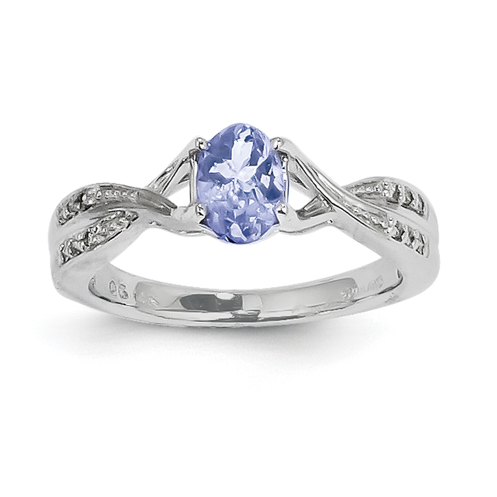 14k White Gold Tanzanite and Diamond Ring Y8938T AA Size 7 by