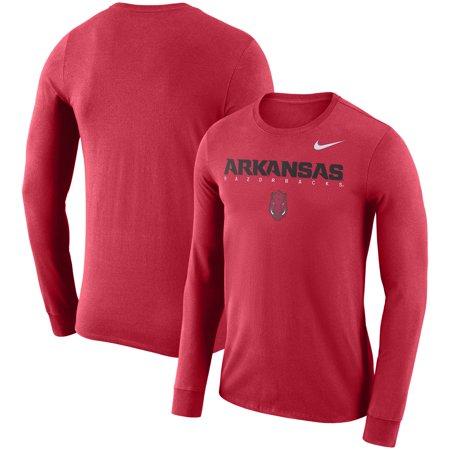 Arkansas Razorbacks Nike 2018 Facility Dri-FIT Cotton Long Sleeve T-Shirt - (Nike Dri Fit Knit Long Sleeve Half Zip)