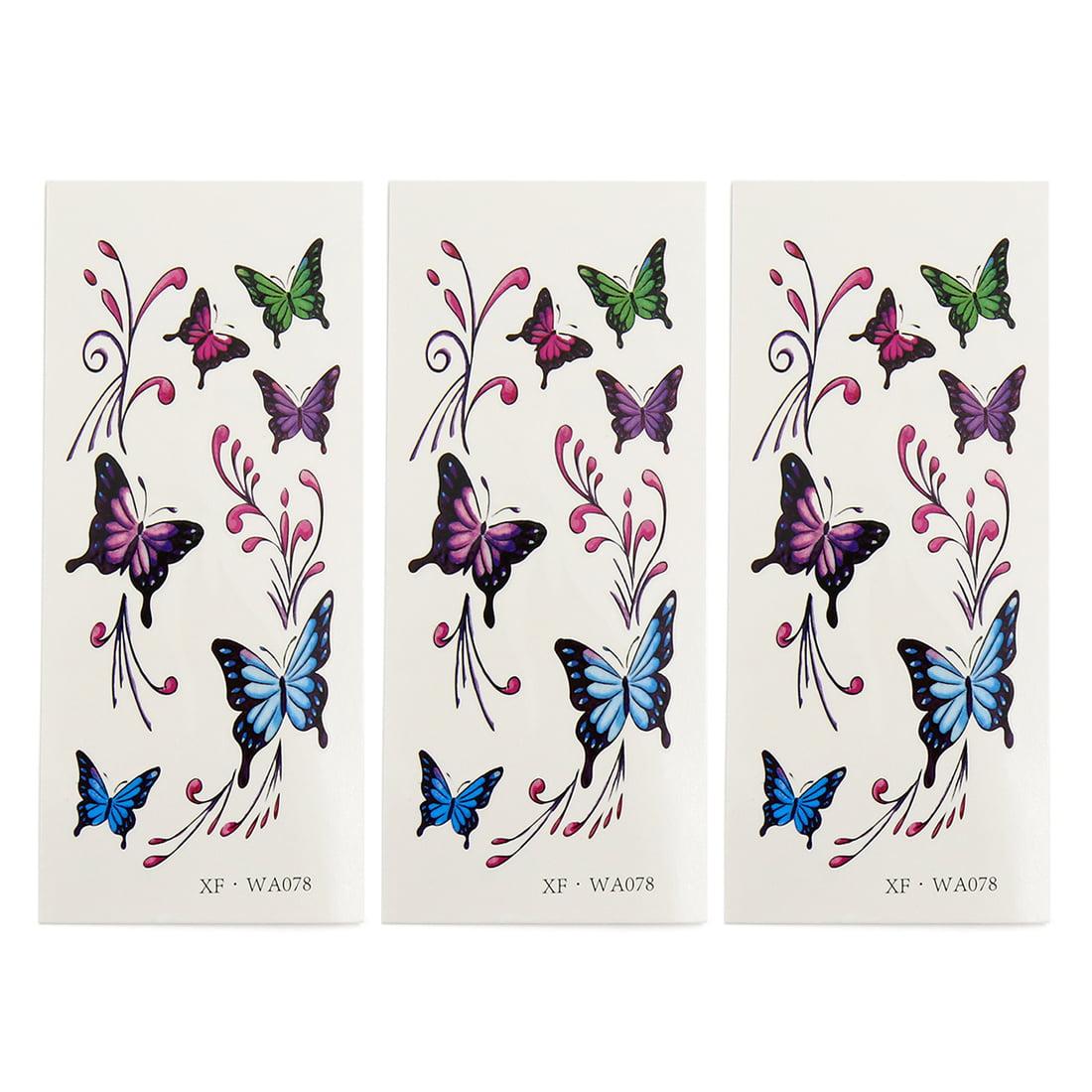 3 pcs butterflies pattern temporary tattoo sticker neck arm leg decor